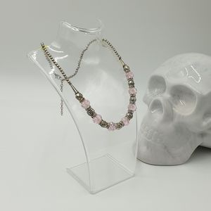 New Pink Crystal Bead Silver Bead Silver Tone Metal Adjustable Clasp Necklace